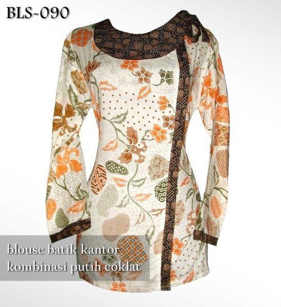 Blouse Batik Kantor Simple Elegan | Kombinasi PUTIH COKLAT | BLS-090