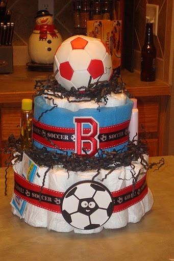 Soccer Diaper Cake by @Joanna Osborne