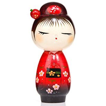 Pretty Red Hairpin Japanese Wooden Kokeshi Doll