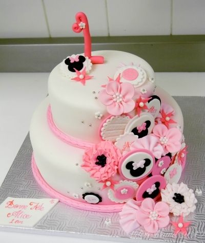 1st birthday minnie mouse inspired cake By buttercreamfantaisies on CakeCentral.com