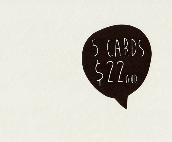 5 CARDS . choose 5 cards . greeting card . by ThePaisleyFive