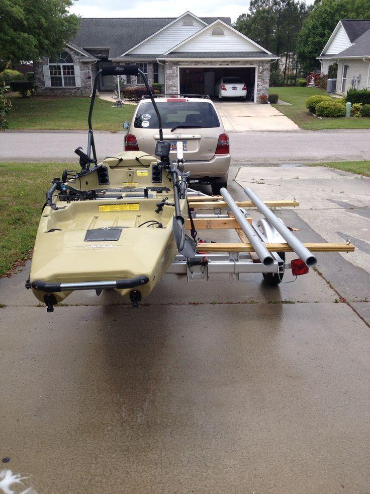 Tandem Kayak Trailer Conversion Homemade Canoe Trailer Kayak On Roof Rack Upside Down U Kayak Trailer Kayak Camping Hobie Kayak