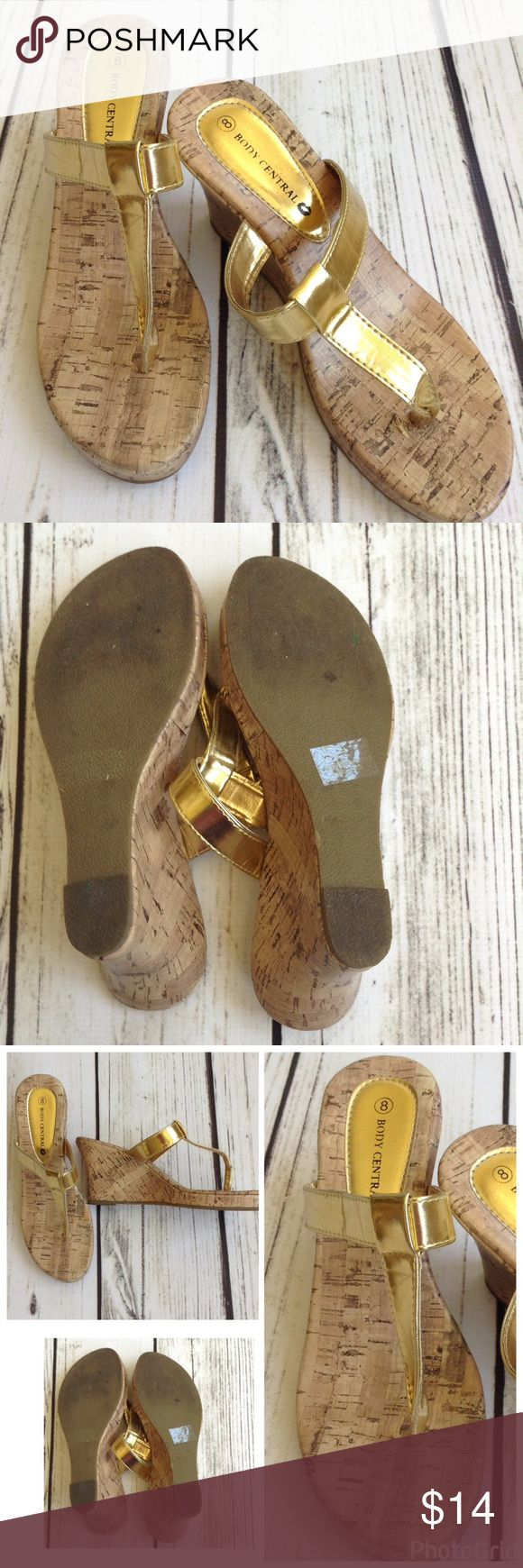 Gold sandals Pre loved adorable gold wedges. Such a great neutral shoe!  Brand: Body Central Size 8 Body Central Shoes Sandals