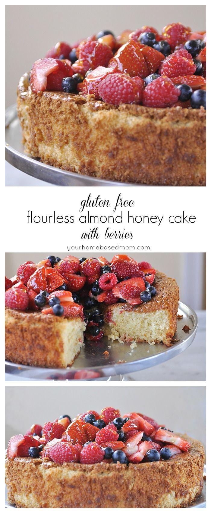 gluten free flourless almond honey cake with berries - it's amazing!!! No one will know it's gluten free @yourhomebasedmom.com