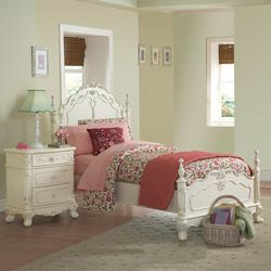 Fairytale Victorian Princess White Twin-size Bed and Nightstand   Overstock.com Shopping - Big Discounts on Kids' Bedroom Sets