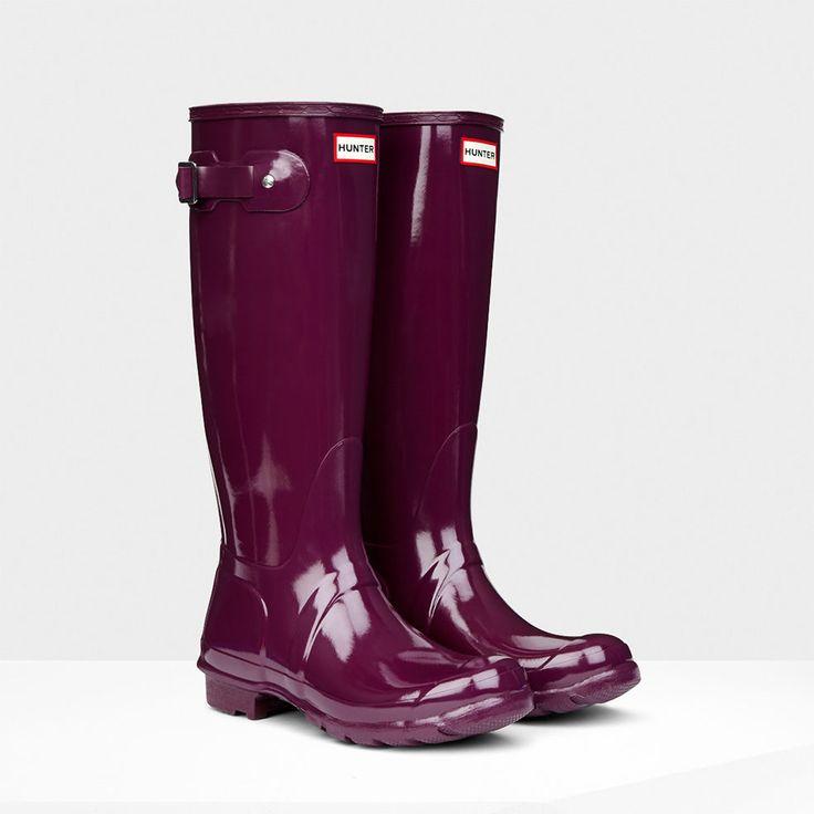 HUNTER ORIGINAL TALL GLOSS BRIGHT PLUM WELLINGTON BOOTS DARK PURPLE WELLIES NWT #Hunter #Rainboots
