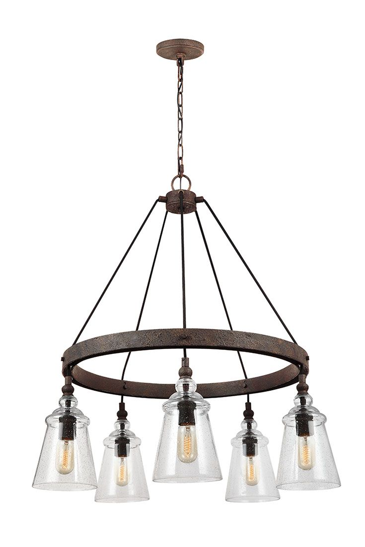 Loras 5 -Light Chandelier by Feiss: Contemporary take on historic, industrial designs. Feature multiple corded pendants beautifully suspended on to a Dark Weathered round Iron-finished frame. Clear seeded glass shades add more rustic charm to this traditional vintage-inspired silhouette, and the black fabric cord adds a clean, contemporary design. Through the clear glass shades, the exposed bulbs are central to the design theme. Perfect for your kitchen, dining room, or living room.
