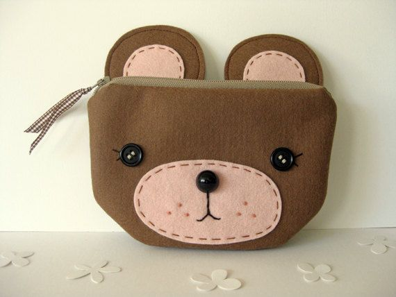 Felt Cute bear pouch by Blueberry Bandit