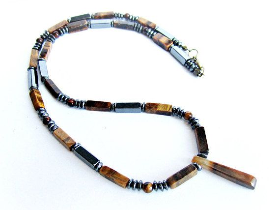 Tiger eye necklace mens stone beaded necklace tiger eye and