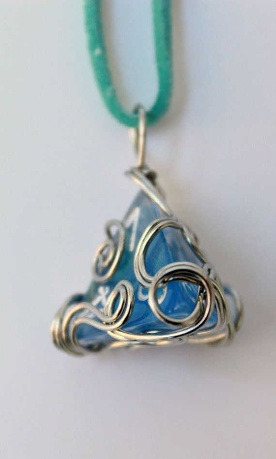 Wire-wrapped Sparkle Blue D4 Dice Necklace by HoneysuckleRoseC