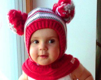 LISTO para allsizes de la nave. Pasamontañas de chica de bebé rojo, sombrero hecho punto con capucha sombrero con pompones, Waldrof