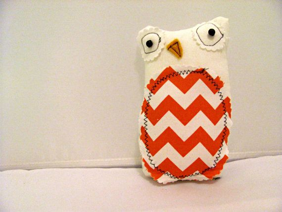 Autumn Orange Chevron OwlStuffed Owl Kids by hartstringz on Etsy, $12.00