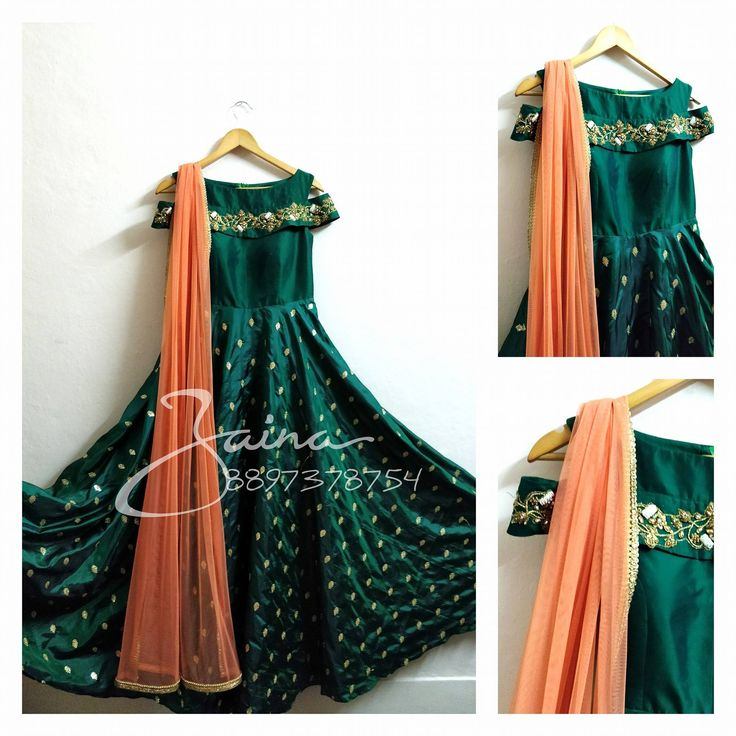 Beautiful bottle green color floor length anarkali dress with cold shoulder. Anarkali dress ith floret lata design hand embroidery thread and mirror work. 02 March 2018