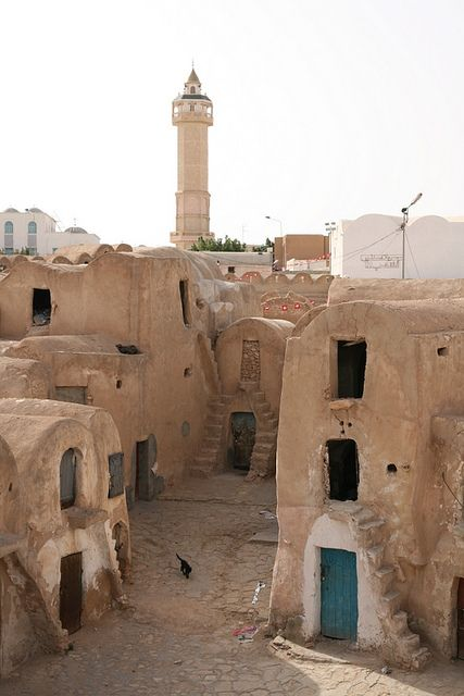 Medenine (Arabic: مدنين Madanīyīn) is the major town in southeastern Tunisia, 77 kilometres  south of the port of Gabès and the Island of Djerba, on the main route to Libya. It is the capital of Medenine Governorate. In pre-colonial times, Medenine was already the most important trading centre in the south, attracting merchants from all over North Africa and even from Bornu, to the south of the Sahara. The Ksar housed the central granaries of the various nomadic Berber tribes of the region.