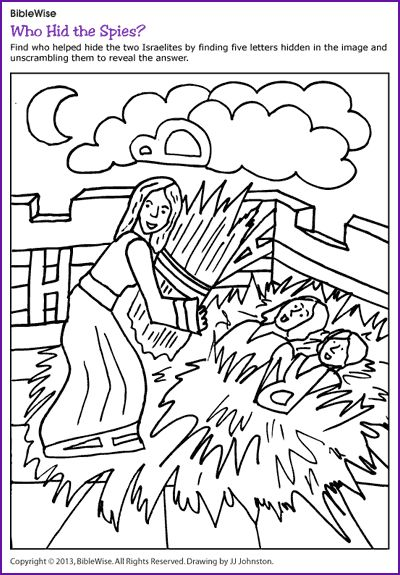 Who Hid the Spies (Hidden Letters Rahab) - Kids Korner - BibleWise....lots of activities and coloring on this site.