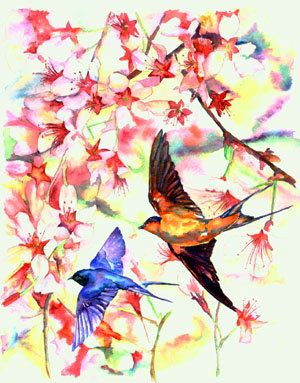 Swallow Birds Flying with Pink Cherry Blossom Tree ORIGINAL watercolor painting - Etsy Beautiful!