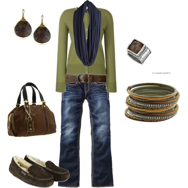 OMG.......this is soooooooo cool. The navy with the olive green......beautiful. I love it. Well, when I looked the scarf up on polyvore, it says it's black; looks navy to me; oh well.Shoes, Earth Tone, Colors Combos, Olive Green, Casual Outfit, Style, Blue, Clothing, Fashionista Trends