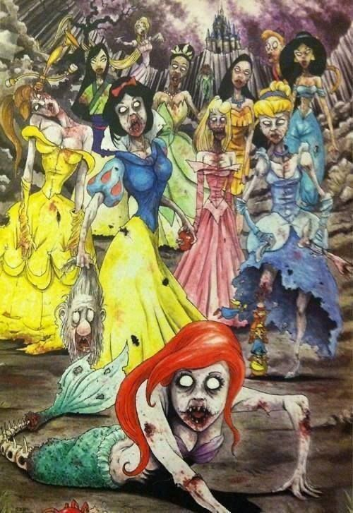 Zombie Disney. I'd never get this tattooed, but wow.