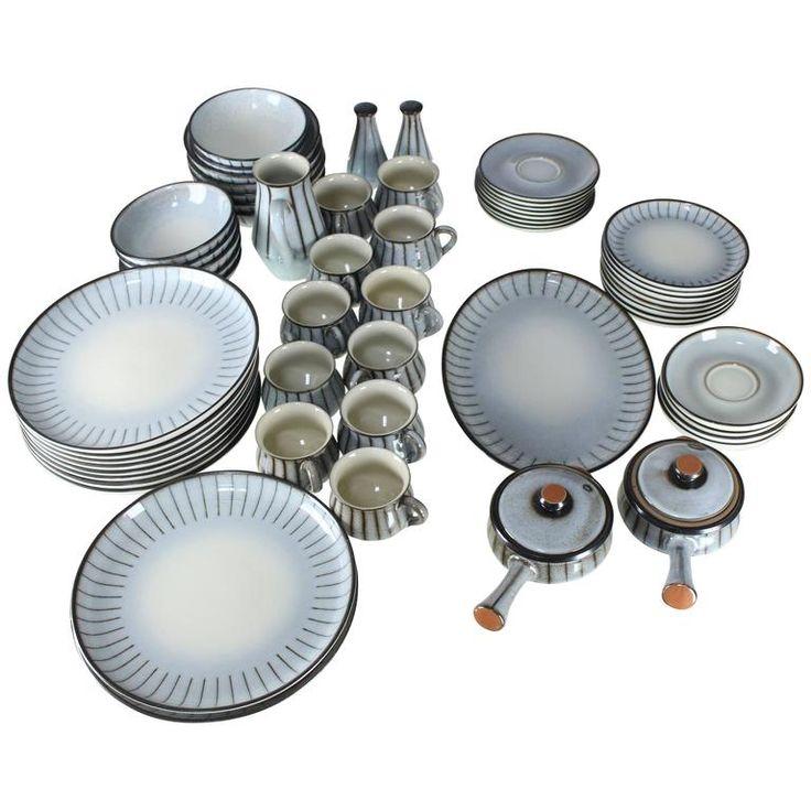 Denby Mid-Century Modern Dinnerware Set Dishes Plate Soup Bowls | 1stdibs.com