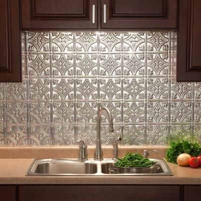 Traditional 1 Pvc Decorative Backsplash Panel In Brushed Aluminum