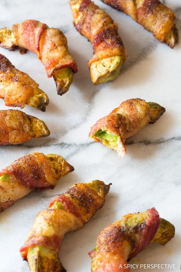 Bacon Wrapped Avocado Recipe - A fabulous low carb, gluten free, and paleo snack for parties! With just 2 main ingredients and a few spices.