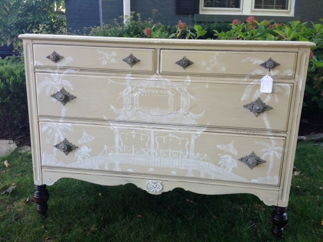 Hand painted Chinoiserie chest