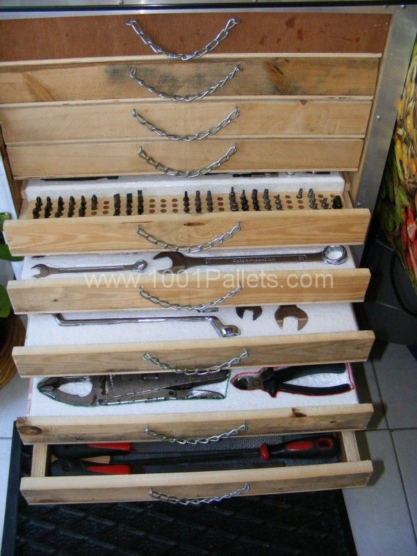 Pallet tool trolley servante d 39 atelier palette for Recyclage palette