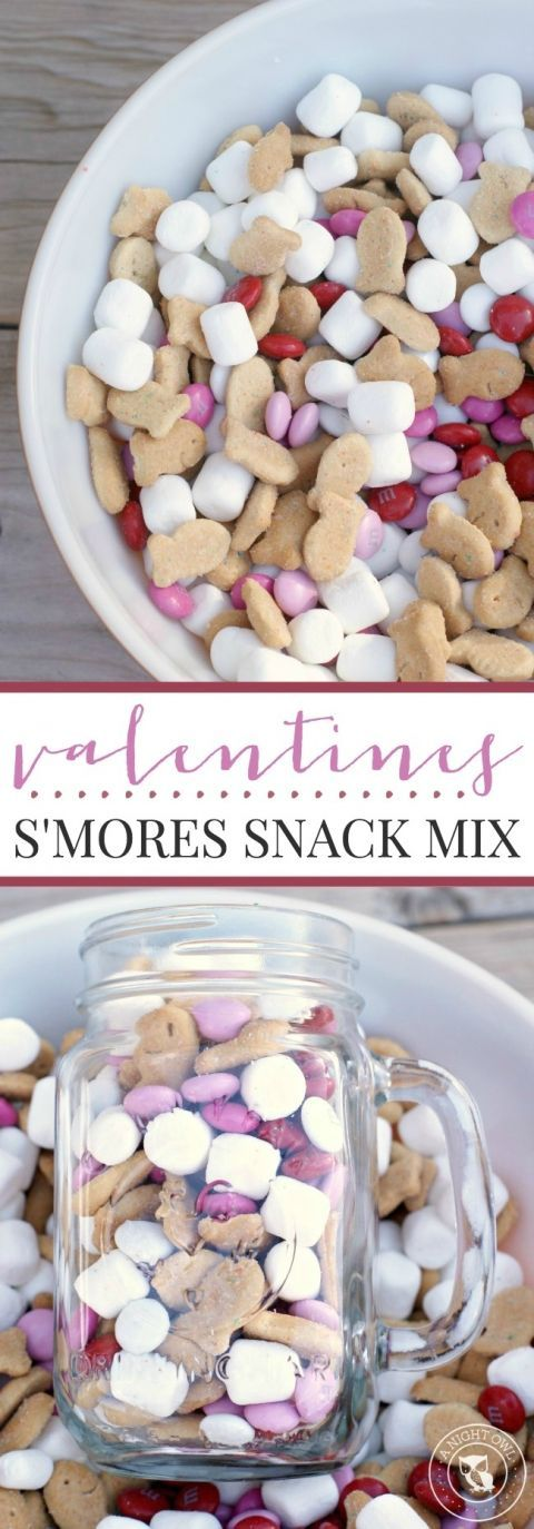 Valentine's S'mores Snack Mix - a delicious combination of graham crackers, chocolate and marshmallows in a quick and easy snack mix!