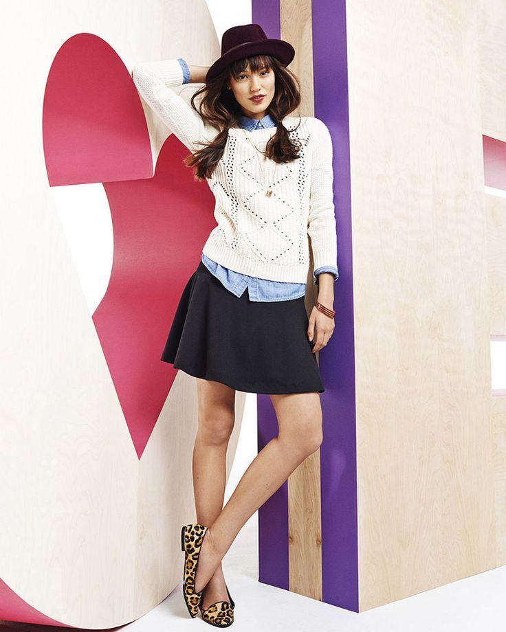 white sweater, chambray, black flare skirt