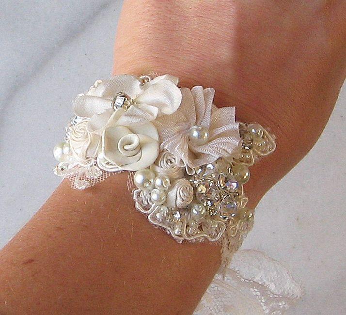 Romantic Vintage Style Bridal Cuff, Custom Rustic Wedding Bracelet, Rhinestone Pearl Bracelet, Bridal Bracelet - WHISPER. $50.00, via Etsy.