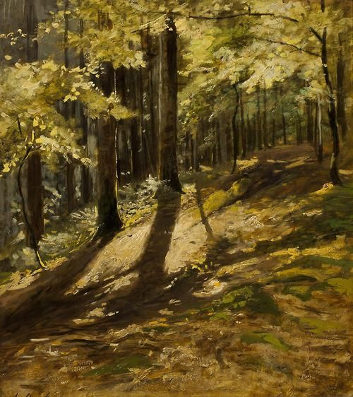 JULIUS MAŘÁK (1832-1899), In a Forest. Oil on paper mounted on cardboard, 39 x 35cm.