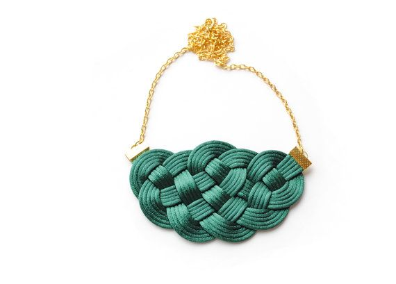 Emerald green and gold sailor knot necklace by elfinadesign