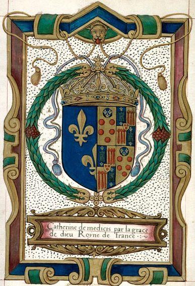 Armes de Catherine de Médicis, destinataire (p. 4) -- «Généalogie des comtes de Boulogne», France, entre 1547 et 1592 [BM d'Aix-en-Provence, Ms. 0638]