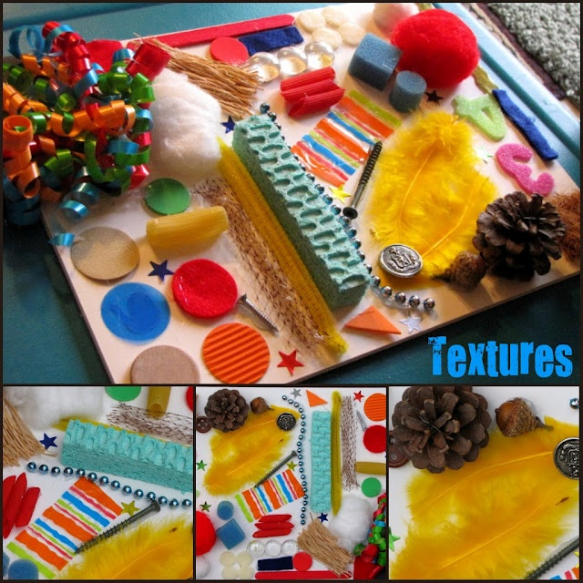 Sensory board made with foam board and objects hot glued. Talk about color, texture, counting, letters, etc.