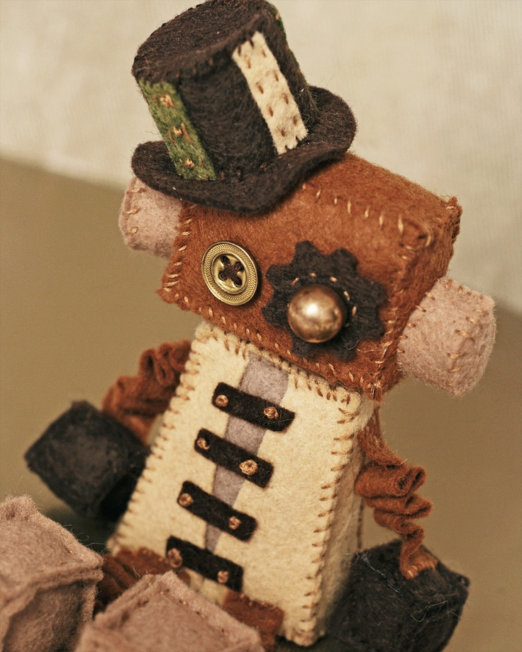 Steampunk Felt Robot Plush Doll with Vintage Buttons. $30.00, via Etsy.