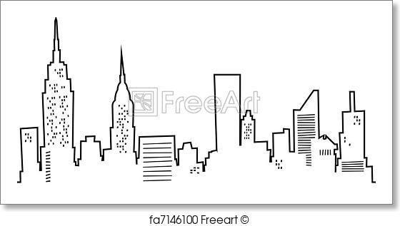 easy drawing skyline york cartoon drawings silhouette prints painting freeart paintingvalley sold