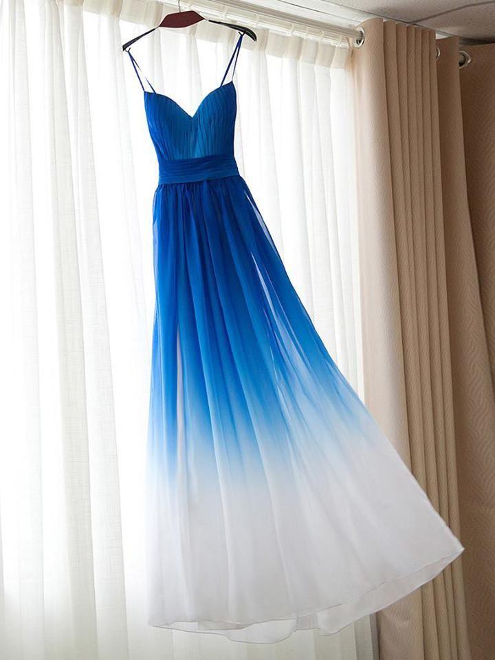 Prom Dresses Royal Blue Ombre Spaghetti Straps Prom Dress/Evening Dres – annapromdress