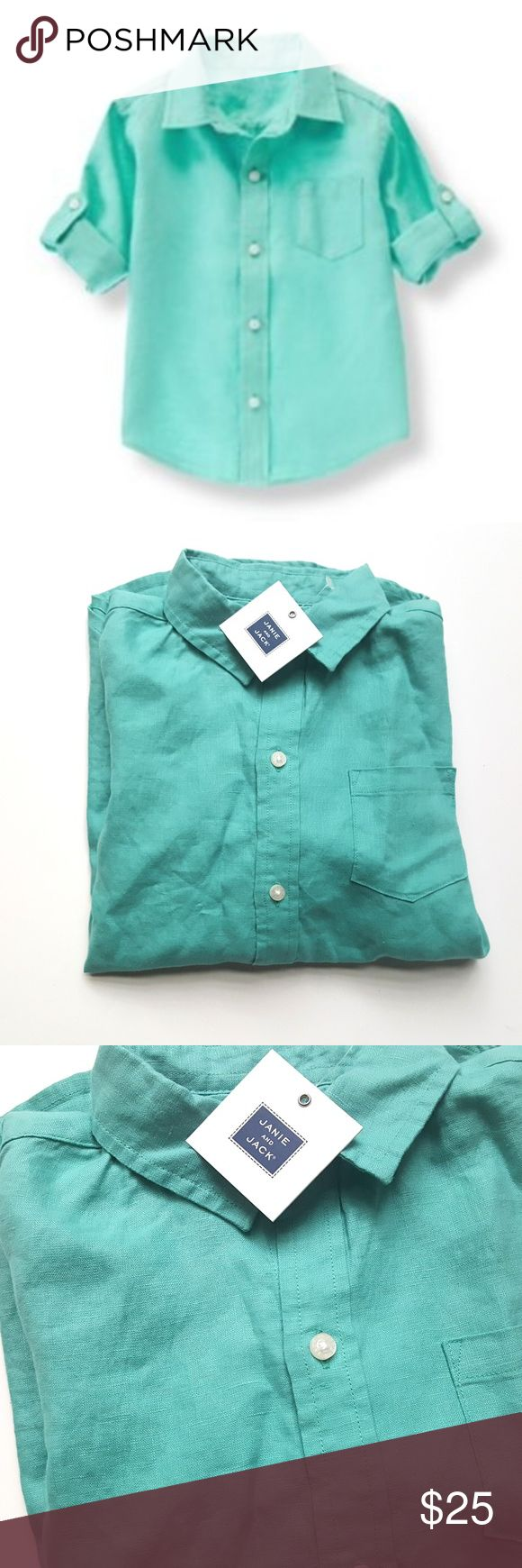 Janie and Jack 8 NEW Paradise Cruise Linen Shirt Janie and Jack Paradise Cruise Linen Shirt Top Aqua Button Down  Size 8  Condition: Nwt  My items come from a smoke-free household, we do have a kitty, so an occasional hair may occur! Janie and Jack Shirts & Tops Button Down Shirts