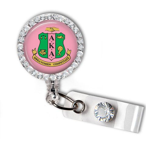 Alpha Kappa Alpha Sorority Swarovski Crystal Name Badge Holder - Designs by Dee's Hands - 1