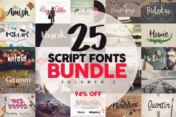 25 Fonts Bundle vol.2 [94% OFF] by Pere Esquerrà on @creativemarket