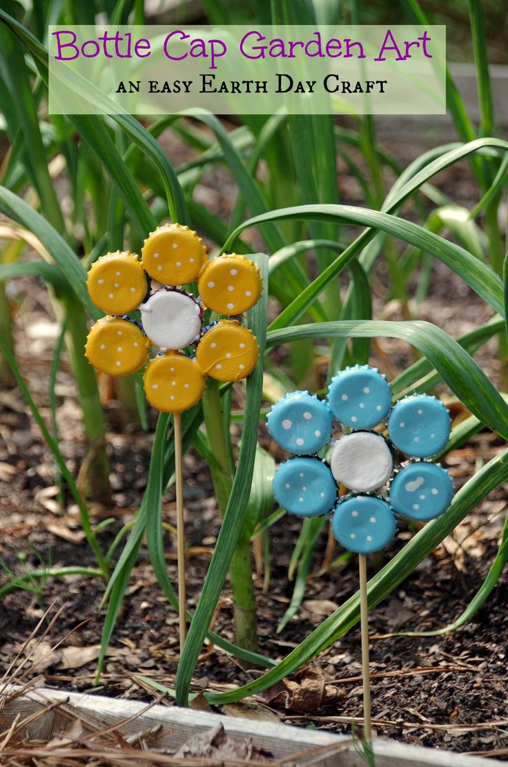 Bottle Cap Garden Art - if you have enough caps, 2 sided would be even more cool.