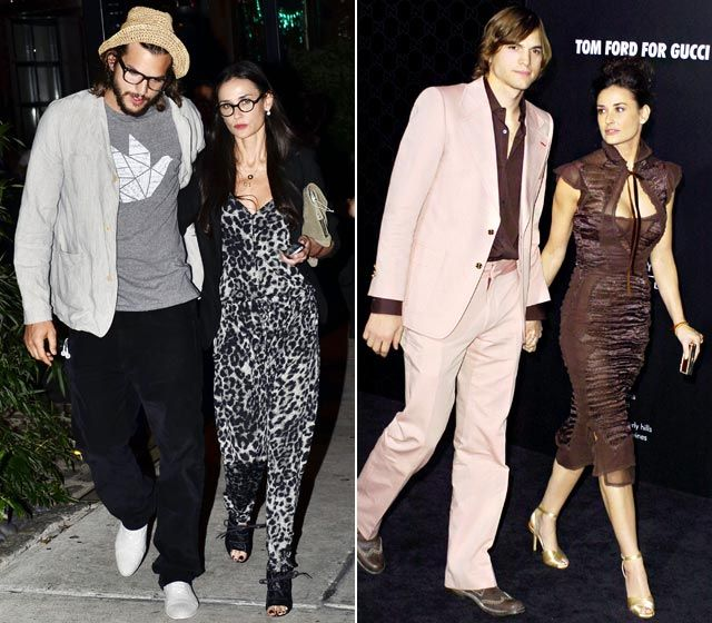 Parejas de celebridades que se visten igual: Ashton Kutcher y Demi Moore