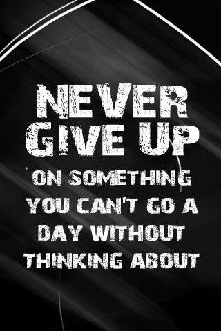 Nunca desista de algo que voce nao consegue passar um dia sequer sem pensar.