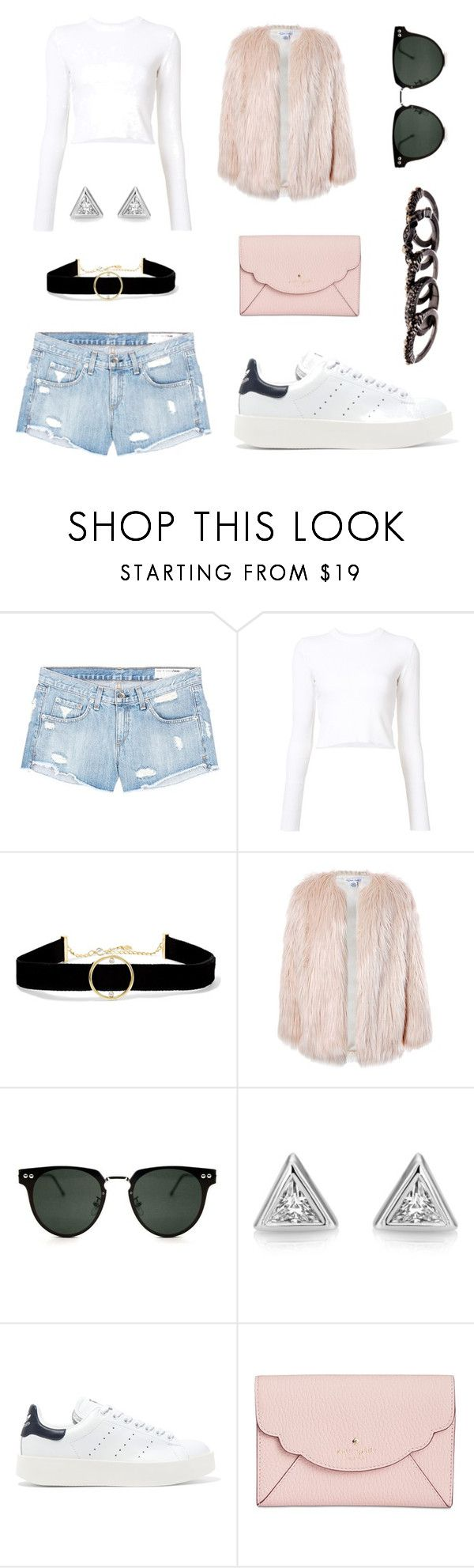 """OOTD"" by amariah-rose-love ❤ liked on Polyvore featuring rag & bone/JEAN, Proenza Schouler, Anissa Kermiche, Sans Souci, Spitfire, adidas Originals, Kate Spade and Free Press"