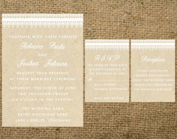 Printable Wedding Invitation Sets - Designs start at $20! :  wedding Kraft And White Invitation Set For Etsy