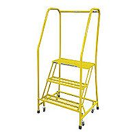 """3-Step Rolling Ladder, Perforated Step Tread, 60"""" Overall Height, 450 lb. Load Capacity"""