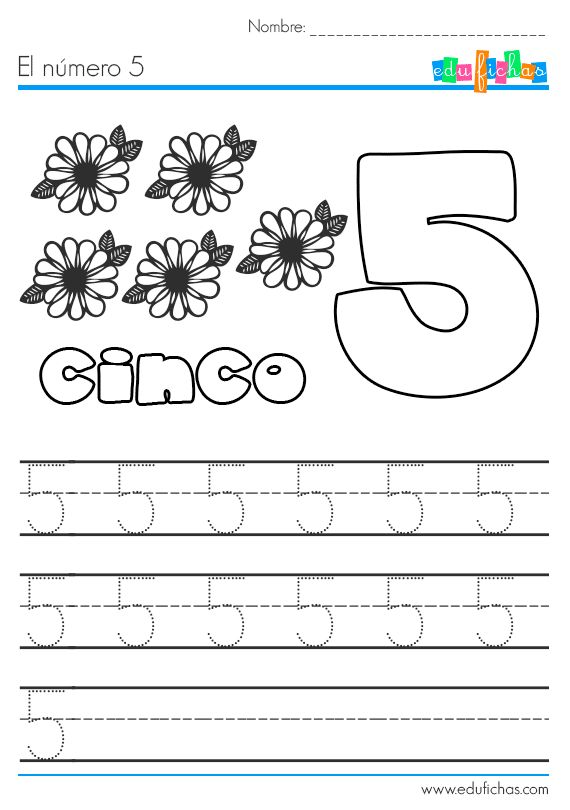 Descarga nuestras fichas con actividades para aprender los números. Esta es la ficha preescolar para aprender el número 5. Recursos para casa y para el aula