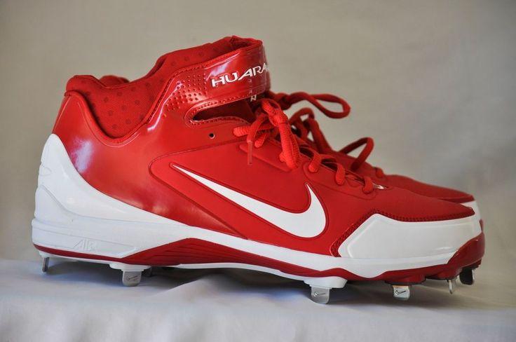 Nike Men Air Huarache 2K Fresh Metal Baseball Cleats Red White size 13 D NEW   #Nike