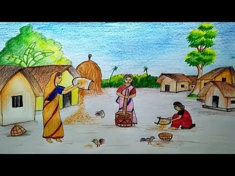 How to draw scenery of Nabanna Festival with water colour pencils