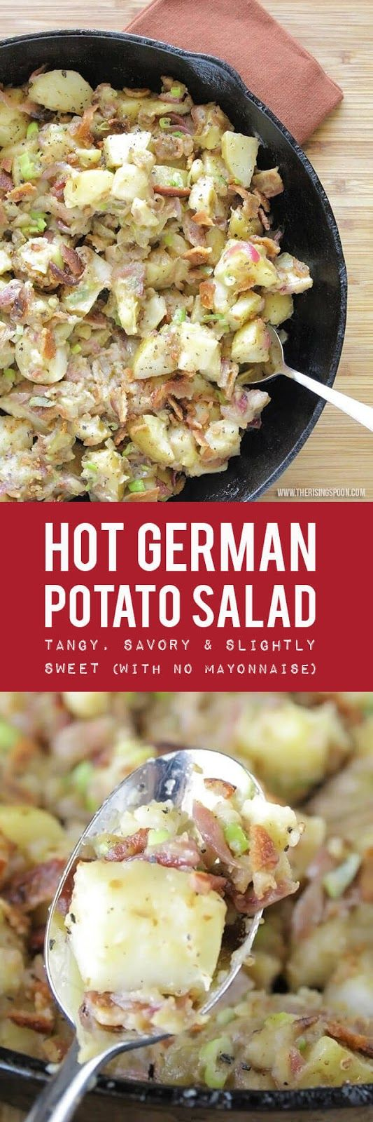 An Easy Hot German Potato Salad Recipe that's tangy, savory, and slightly sweet. A great alternative to normal mayo potato salad.   Gluten-free   Grain-Free   Dairy-Free   Real Food Recipes   Dinner